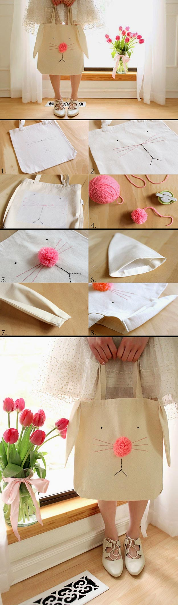 Cheap Crafts - DIY Bunny Tote Bag - Inexpensive Craft Project Ideas for Teenagers, Teens and Adults - Easy DIY Ideas To Make On A Budget - Cool Dollar Store Crafts and Things You Can Make For Free - Homemade Wall Art and Room Decor, Gifts and Presents, Tutorials and Step by Step Instructions http://teencrafts.com/cheap-diy-crafts
