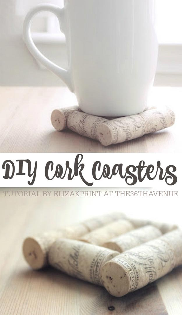 Cheap Crafts - DIY Cork Coasters - Inexpensive Craft Project Ideas for Teenagers, Teens and Adults - Easy DIY Ideas To Make On A Budget - Cool Dollar Store Crafts and Things You Can Make For Free - Homemade Wall Art and Room Decor, Gifts and Presents, Tutorials and Step by Step Instructions http://teencrafts.com/cheap-diy-crafts