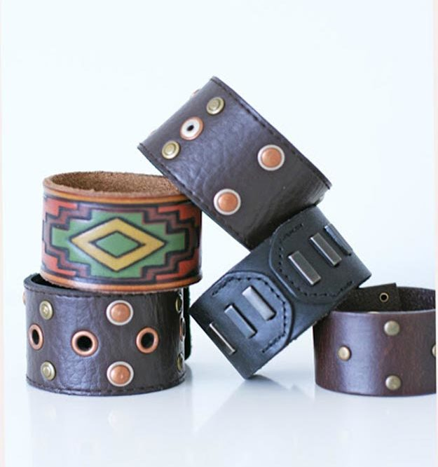 Cheap Crafts - How to Make a Leather Cuff From A Belt - Inexpensive Craft Project Ideas for Teenagers, Teens and Adults - Easy DIY Ideas To Make On A Budget - Cool Dollar Store Crafts and Things You Can Make For Free - Homemade Wall Art and Room Decor, Gifts and Presents, Tutorials and Step by Step Instructions #teencrafts #cheapcrafts #diyideas