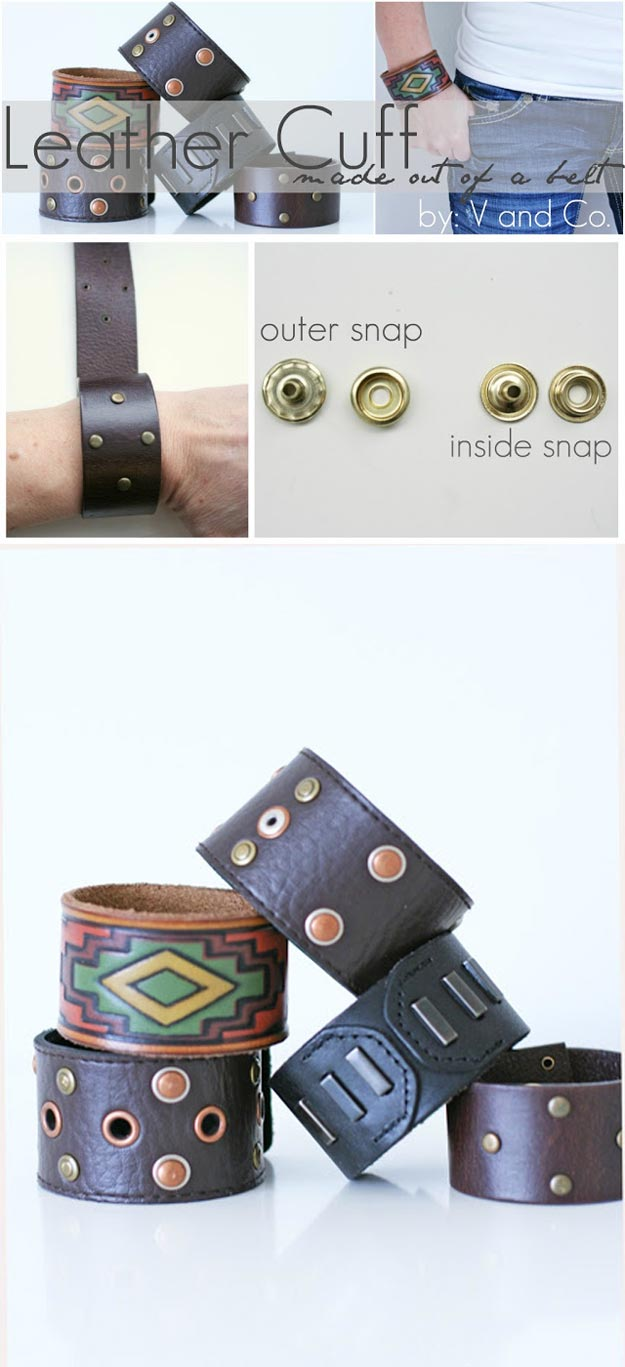 Cheap Crafts - How to: Make a Leather Cuff from a Belt - Inexpensive Craft Project Ideas for Teenagers, Teens and Adults - Easy DIY Ideas To Make On A Budget - Cool Dollar Store Crafts and Things You Can Make For Free - Homemade Wall Art and Room Decor, Gifts and Presents, Tutorials and Step by Step Instructions http://teencrafts.com/cheap-diy-crafts