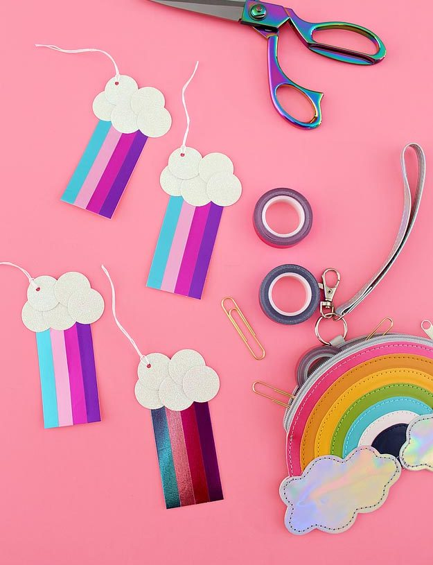Cheap Crafts - DIY Metallic Washi Tape Rainbow Tags Tutorial - DIY Gift Tag Ideas - Inexpensive Craft Project Ideas for Teenagers, Teens and Adults - Easy DIY Ideas To Make On A Budget - Cool Dollar Store Crafts and Things You Can Make For Free - Homemade Wall Art and Room Decor, Gifts and Presents, Tutorials and Step by Step Instructions #teencrafts #cheapcrafts #diyideas