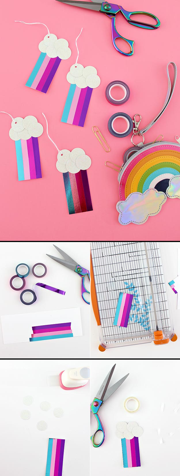 Cheap Crafts - Metallic Washi Tape Rainbow Tags - Inexpensive Craft Project Ideas for Teenagers, Teens and Adults - Easy DIY Ideas To Make On A Budget - Cool Dollar Store Crafts and Things You Can Make For Free - Homemade Wall Art and Room Decor, Gifts and Presents, Tutorials and Step by Step Instructions http://teencrafts.com/cheap-diy-crafts