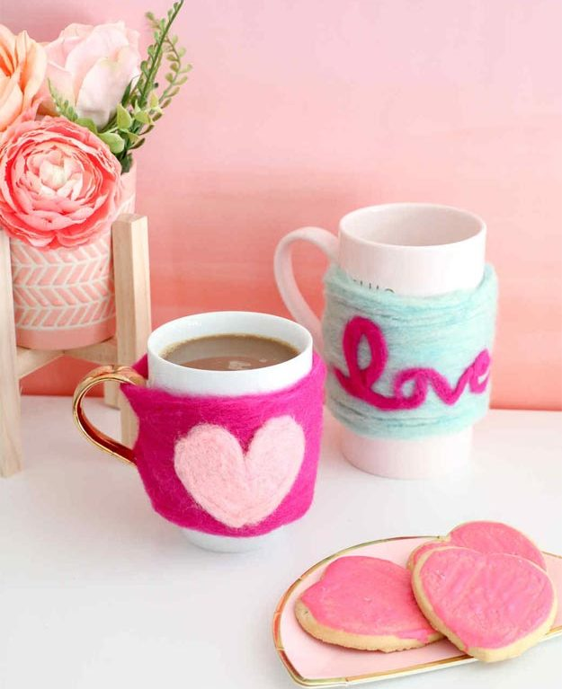 Cheap Crafts - DIY Needle Felted Heart Mug Cozy - DIY Mug Cozies - How to Make a Mug Cozy - Inexpensive Craft Project Ideas for Teenagers, Teens and Adults - Easy DIY Ideas To Make On A Budget - Cool Dollar Store Crafts and Things You Can Make For Free - Homemade Wall Art and Room Decor, Gifts and Presents, Tutorials and Step by Step Instructions #teencrafts #cheapcrafts #diyideas
