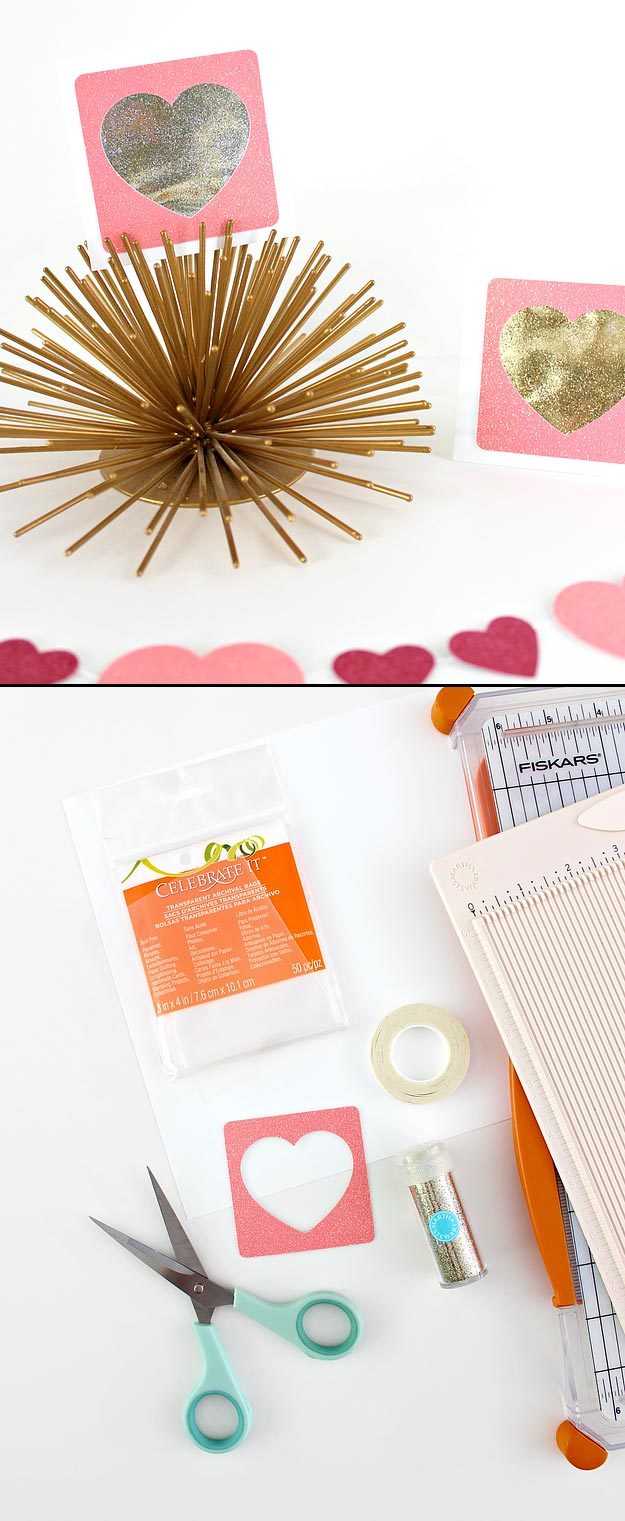 Cheap Crafts - Shaker Glitter Heart Cards - Inexpensive Craft Project Ideas for Teenagers, Teens and Adults - Easy DIY Ideas To Make On A Budget - Cool Dollar Store Crafts and Things You Can Make For Free - Homemade Wall Art and Room Decor, Gifts and Presents, Tutorials and Step by Step Instructions http://teencrafts.com/cheap-diy-crafts