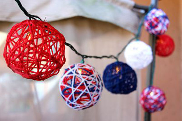 DIY Ideas With String Lights - DIY Patriotic String Light Spheres Tutorial - DIY Patriotic Decorations - Fun String Light Ideas - Easy, Fun, Cool Decor To Make With String Lights - Cheap Room Decor Ideas for Teens, Fun Apartment Lighting Projects and Creative Ways to Decorate Your Bedroom - How To Decorate Teens and Teenagers Bedrooms #teencrafts #diyideas #stringlights