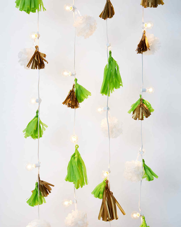 DIY Ideas With String Lights - DIY Tasseled String Light Garland Tutorial - How to Make a String Light Wall - Fun String Light Ideas - Easy, Fun, Cool Decor To Make With String Lights - Cheap Room Decor Ideas for Teens, Fun Apartment Lighting Projects and Creative Ways to Decorate Your Bedroom - How To Decorate Teens and Teenagers Bedrooms #teencrafts #diyideas #stringlights