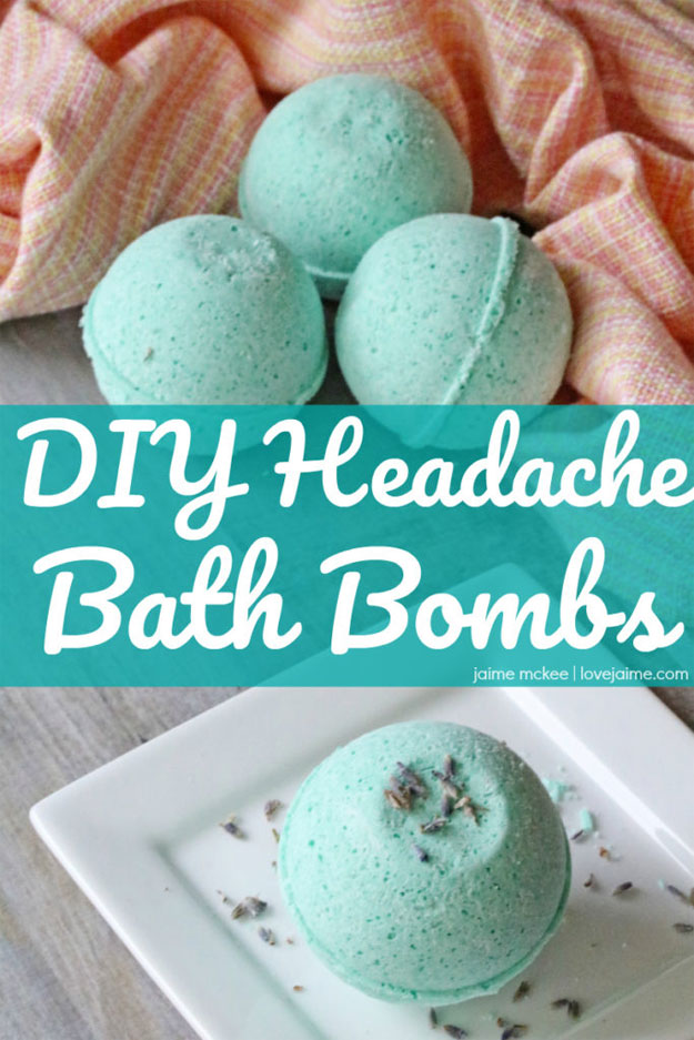 Easy DIY Bath Bomb Recipes - Homemade Bath Bombs - How to Make Headache Relieving Bath Bombs - Cool Bath Bomb Recipe Ideas - How to Make Bath Fizzies - How to Make a Bath Bomb at Home #lush #crafts #bathbomb