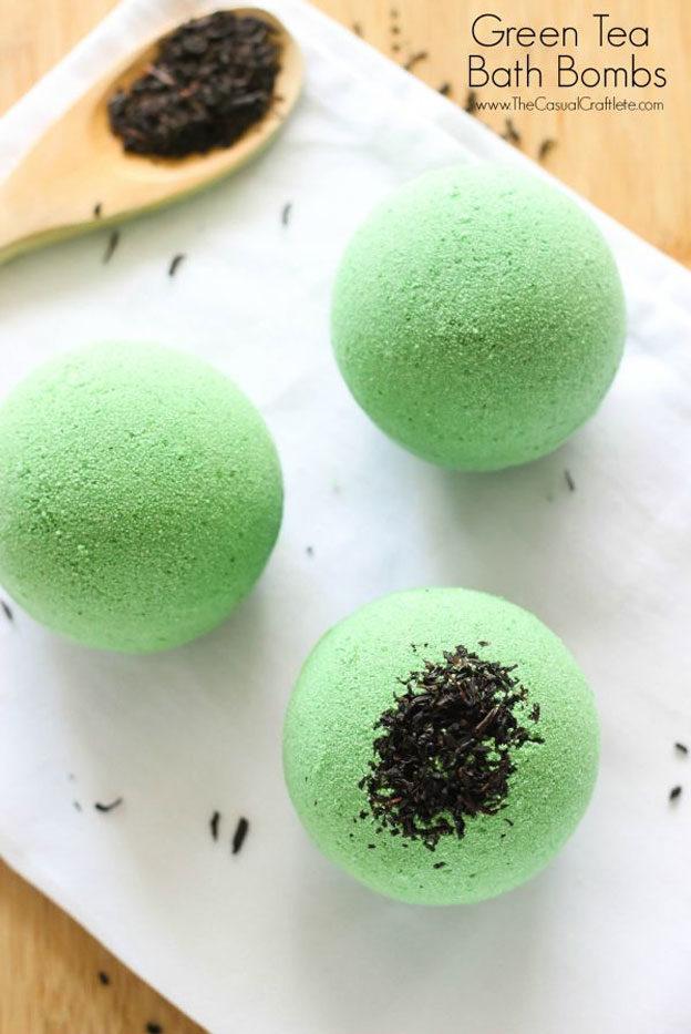 DIY Bath Bombs - How to Make A Green Tea Bath Bomb - Easy Bath Bomb Recipes and Tutorials - Cool Teen and Adult Crafts - Spa Day Ideas - Lush DIY Copycat Dupes - Crafts for Kids, Teens, and Adults #teencrafts #diyideas #diybathbombs
