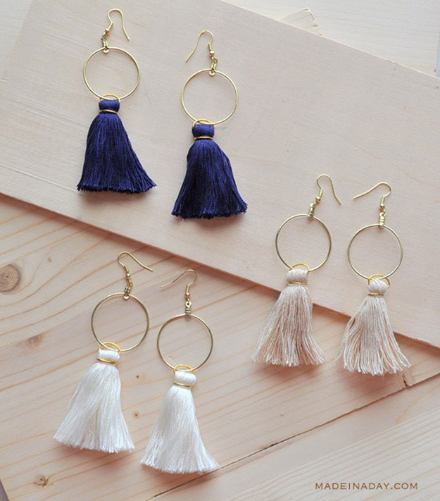 Crafts To Make and Sell For Teens - DIY Hoop Tassel Earrings Tutorial - How to Make Hoop Tassel Earrings - Easy Craft Project Ideas To Make for Selling On Etsy and Online - Cool Ideas and DIY Ideas You Can Sell On Etsy - Fun and Cheap Do It Yourself Projects for Teenagers to Make Extra Money This Summer #teencrafts #craftstomakeandsell #diyideas