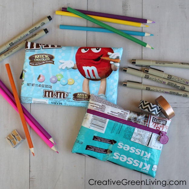 Crafts To Make and Sell For Teens - DIY Recycled Candy Wrapper Zipper Pouch Tutorial - How to Make a Candy Wrapper Purse - Easy Craft Project Ideas To Make for Selling On Etsy and Online - Cool Ideas and DIY Ideas You Can Sell On Etsy - Fun and Cheap Do It Yourself Projects for Teenagers to Make Extra Money This Summer #teencrafts #craftstomakeandsell #diyideas