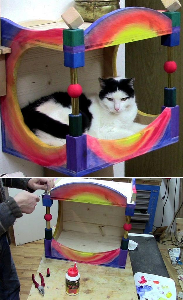 DIY Ideas for Your Cat - Cat House - Cool and Easy Homemade Stuff To Make For Cats and Kittens - Cardboard Furniture, DIY Cat Scratching Post and Lounging Tree - Litter Box, Pet Bes, Craft Projects, Toys and Hacks for Creavite Things to Make - Food and Treat Recipes http://teencrafts.com/diy-ideas-cat