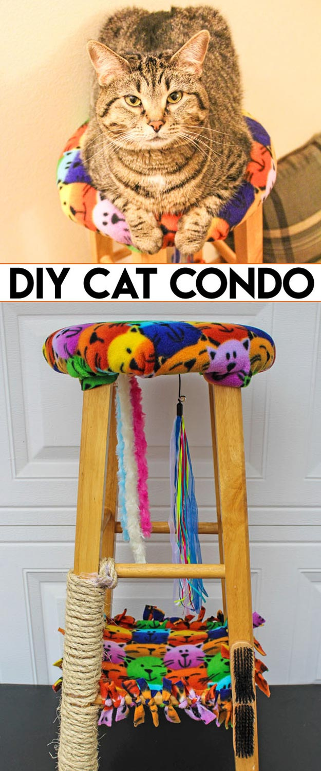 DIY Ideas for Your Cat - DIY Cat Condo from a Stool - Cool and Easy Homemade Stuff To Make For Cats and Kittens - Cardboard Furniture, DIY Cat Scratching Post and Lounging Tree - Litter Box, Pet Bes, Craft Projects, Toys and Hacks for Creavite Things to Make - Food and Treat Recipes http://teencrafts.com/diy-ideas-cat