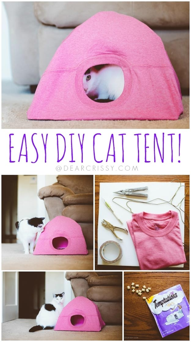 DIY Ideas for Your Cat - DIY Cat Tent for Kitties Who Play Hard - Cool and Easy Homemade Stuff To Make For Cats and Kittens - Cardboard Furniture, DIY Cat Scratching Post and Lounging Tree - Litter Box, Pet Bes, Craft Projects, Toys and Hacks for Creavite Things to Make - Food and Treat Recipes http://teencrafts.com/diy-ideas-cat