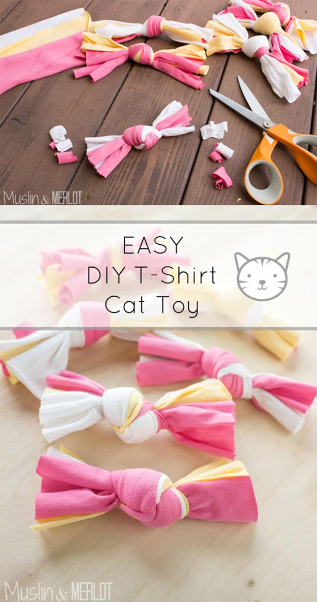 DIY Ideas for Your Cat - DIY T-shirt Cat Toy - Cool and Easy Homemade Stuff To Make For Cats and Kittens - Cardboard Furniture, DIY Cat Scratching Post and Lounging Tree - Litter Box, Pet Bes, Craft Projects, Toys and Hacks for Creavite Things to Make - Food and Treat Recipes http://teencrafts.com/diy-ideas-cat