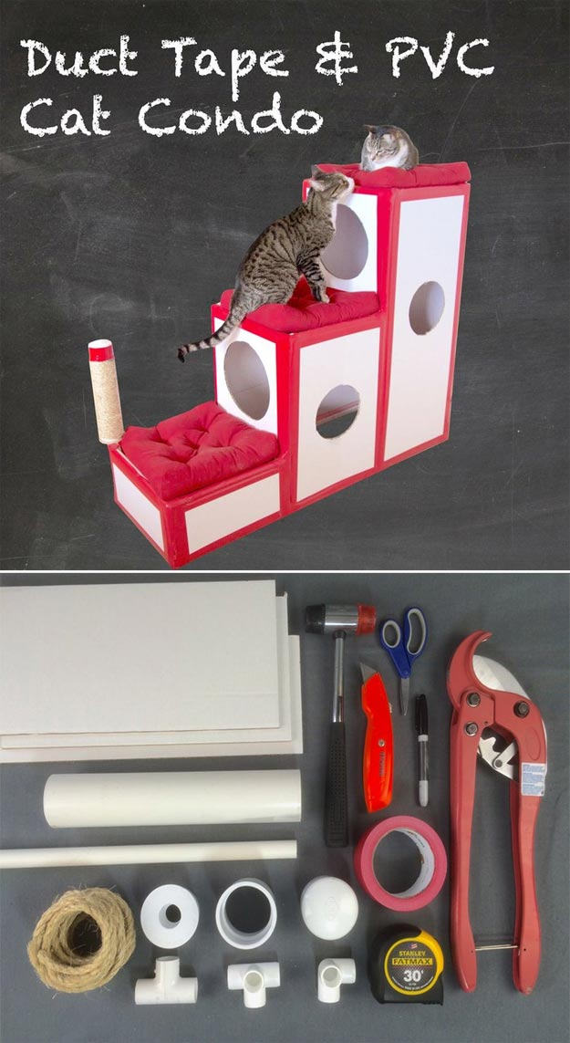 DIY Ideas for Your Cat - Duct Tape and PVC Cat Condo - Cool and Easy Homemade Stuff To Make For Cats and Kittens - Cardboard Furniture, DIY Cat Scratching Post and Lounging Tree - Litter Box, Pet Bes, Craft Projects, Toys and Hacks for Creavite Things to Make - Food and Treat Recipes http://teencrafts.com/diy-ideas-cat