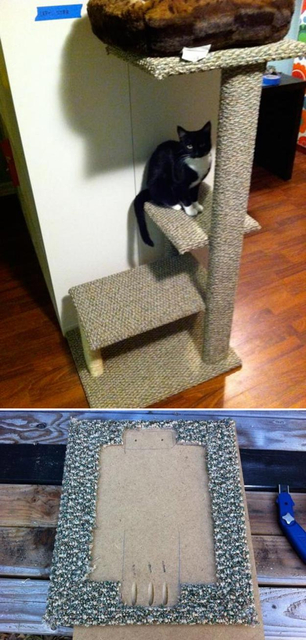 DIY Ideas for Your Cat - How to Build a Sisal and Carpet Cat Tree - Cool and Easy Homemade Stuff To Make For Cats and Kittens - Cardboard Furniture, DIY Cat Scratching Post and Lounging Tree - Litter Box, Pet Bes, Craft Projects, Toys and Hacks for Creavite Things to Make - Food and Treat Recipes http://teencrafts.com/diy-ideas-cat