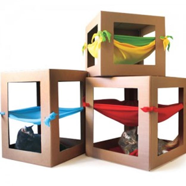 DIY Ideas for Your Cat - How to Make a Cat Hammock - Cool and Easy Homemade Stuff To Make For Cats and Kittens - Cardboard Furniture, DIY Cat Scratching Post and Lounging Tree - Litter Box, Pet Bes, Craft Projects, Toys and Hacks for Creavite Things to Make - Food and Treat Recipes http://teencrafts.com/diy-ideas-cat
