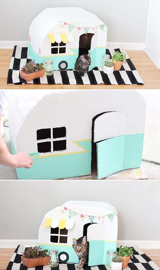 DIY Ideas for Your Cat - How To Make A Vintage Kitty Camper Out Of Cardboard Boxes - Cool and Easy Homemade Stuff To Make For Cats and Kittens - Cardboard Furniture, DIY Cat Scratching Post and Lounging Tree - Litter Box, Pet Bes, Craft Projects, Toys and Hacks for Creavite Things to Make - Food and Treat Recipes http://teencrafts.com/diy-ideas-cat