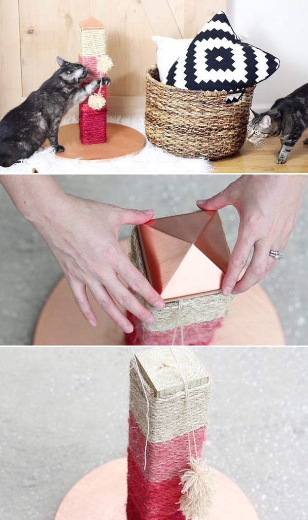 DIY Ideas for Your Cat - Make A Cat Scratch Post That's Actually Not Ugly - Cool and Easy Homemade Stuff To Make For Cats and Kittens - Cardboard Furniture, DIY Cat Scratching Post and Lounging Tree - Litter Box, Pet Bes, Craft Projects, Toys and Hacks for Creavite Things to Make - Food and Treat Recipes http://teencrafts.com/diy-ideas-cat