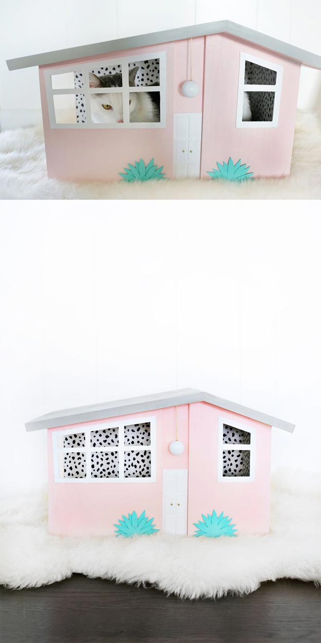 DIY Ideas for Your Cat - Palm Springs Kitty Scratch House - Cool and Easy Homemade Stuff To Make For Cats and Kittens - Cardboard Furniture, DIY Cat Scratching Post and Lounging Tree - Litter Box, Pet Bes, Craft Projects, Toys and Hacks for Creavite Things to Make - Food and Treat Recipes http://teencrafts.com/diy-ideas-cat