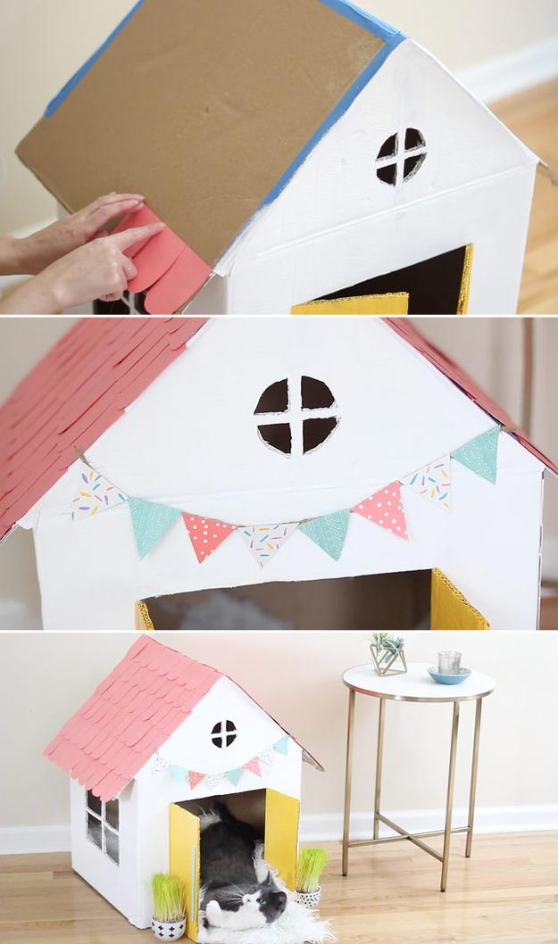 DIY Ideas for Your Cat - Turn Old Boxes Into An Adorable Cat House - Cool and Easy Homemade Stuff To Make For Cats and Kittens - Cardboard Furniture, DIY Cat Scratching Post and Lounging Tree - Litter Box, Pet Bes, Craft Projects, Toys and Hacks for Creavite Things to Make - Food and Treat Recipes http://teencrafts.com/diy-ideas-cat