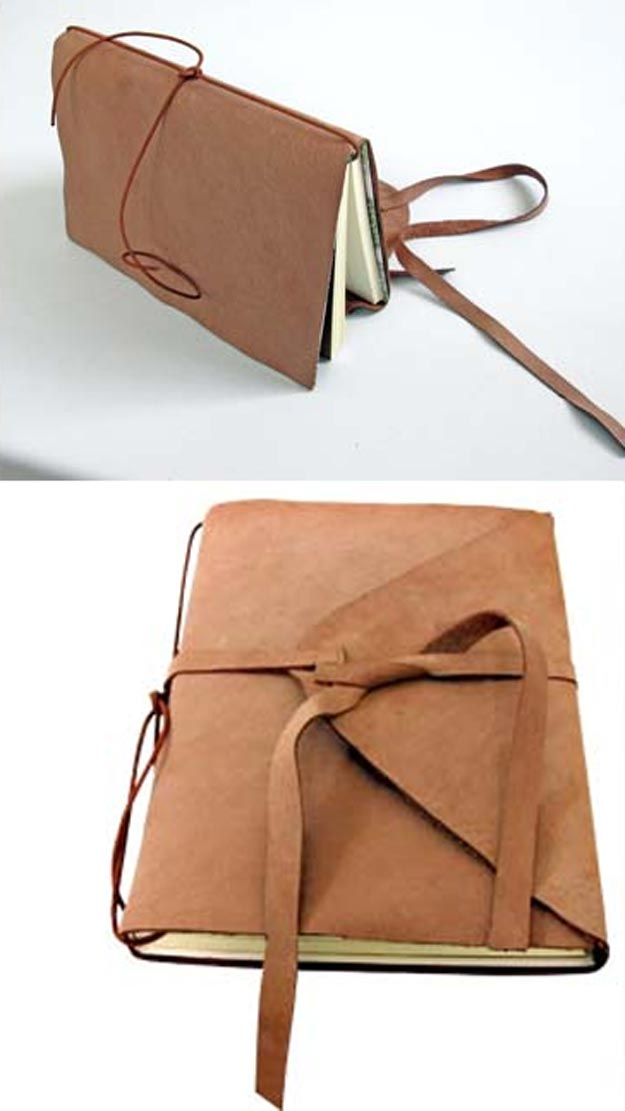 DIY Leather Crafts - DIY leather-bound notebook - Crossbody Bag, Wallet, Earrings and Jewelry Making, Projects from Scrap and Faux Leathers - Tutorials for Beginners and for Kids - Western Wear and Fashion, tips for Tools and Free Patterns - Cheap Clothing for Teens to Make http://teencrafts.com/diy-ideas-leather-crafts