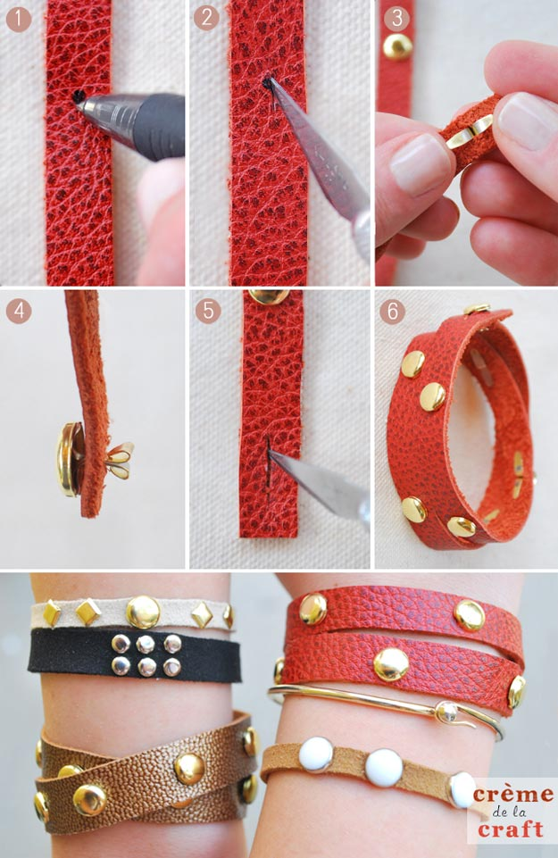 DIY Leather Crafts - DIY Leather Studded Wrap Bracelet - Crossbody Bag, Wallet, Earrings and Jewelry Making, Projects from Scrap and Faux Leathers - Tutorials for Beginners and for Kids - Western Wear and Fashion, tips for Tools and Free Patterns - Cheap Clothing for Teens to Make http://teencrafts.com/diy-ideas-leather-crafts