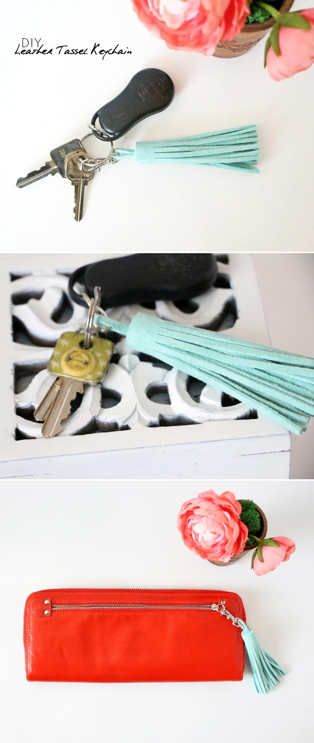 DIY Leather Crafts - Diy Leather Tassel Keychain - Crossbody Bag, Wallet, Earrings and Jewelry Making, Projects from Scrap and Faux Leathers - Tutorials for Beginners and for Kids - Western Wear and Fashion, tips for Tools and Free Patterns - Cheap Clothing for Teens to Make http://teencrafts.com/diy-ideas-leather-crafts
