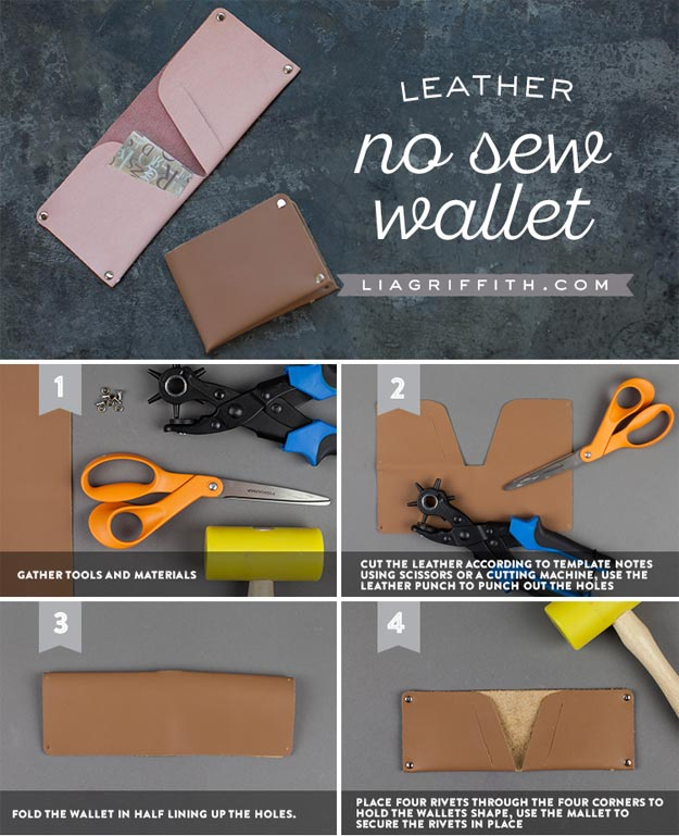 DIY Leather Crafts - DIY Leather Wallet - Crossbody Bag, Wallet, Earrings and Jewelry Making, Projects from Scrap and Faux Leathers - Tutorials for Beginners and for Kids - Western Wear and Fashion, tips for Tools and Free Patterns - Cheap Clothing for Teens to Make http://teencrafts.com/diy-ideas-leather-crafts
