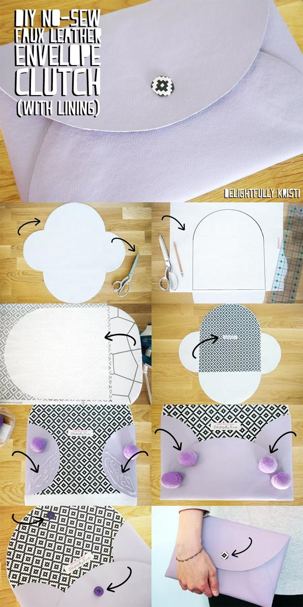 DIY Leather Crafts - DIY No-Sew Faux Leather Envelope Clutch - Crossbody Bag, Wallet, Earrings and Jewelry Making, Projects from Scrap and Faux Leathers - Tutorials for Beginners and for Kids - Western Wear and Fashion, tips for Tools and Free Patterns - Cheap Clothing for Teens to Make http://teencrafts.com/diy-ideas-leather-crafts