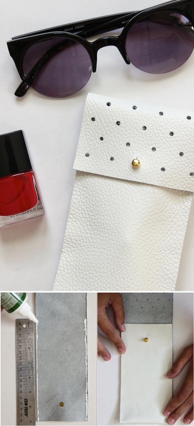 DIY Leather Crafts - DIY No-Sew Leather Glasses Pouch - Crossbody Bag, Wallet, Earrings and Jewelry Making, Projects from Scrap and Faux Leathers - Tutorials for Beginners and for Kids - Western Wear and Fashion, tips for Tools and Free Patterns - Cheap Clothing for Teens to Make http://teencrafts.com/diy-ideas-leather-crafts
