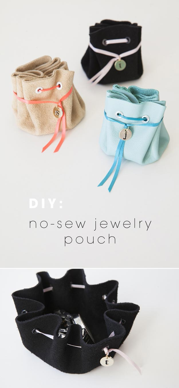 DIY Leather Crafts - DIY No Sew Leather Jewelry Pouch - Crossbody Bag, Wallet, Earrings and Jewelry Making, Projects from Scrap and Faux Leathers - Tutorials for Beginners and for Kids - Western Wear and Fashion, tips for Tools and Free Patterns - Cheap Clothing for Teens to Make http://teencrafts.com/diy-ideas-leather-crafts