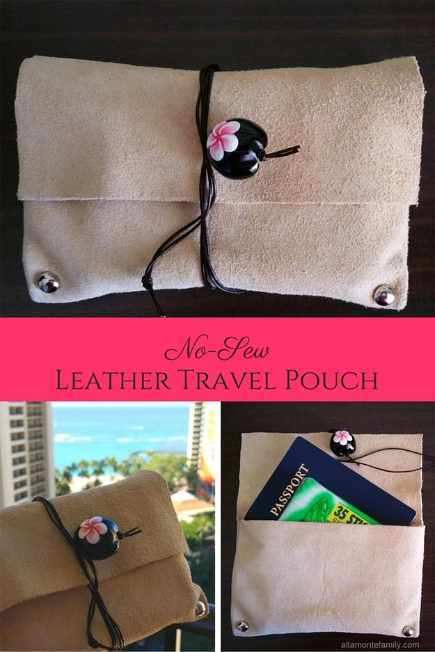 DIY Leather Crafts - DIY No-Sew Leather Travel Pouch - Crossbody Bag, Wallet, Earrings and Jewelry Making, Projects from Scrap and Faux Leathers - Tutorials for Beginners and for Kids - Western Wear and Fashion, tips for Tools and Free Patterns - Cheap Clothing for Teens to Make http://teencrafts.com/diy-ideas-leather-crafts