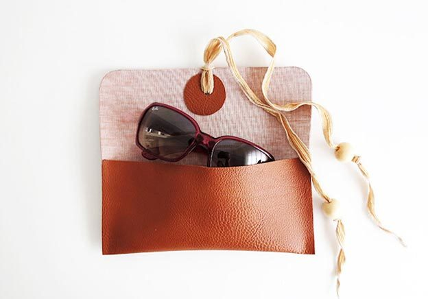 DIY Leather Crafts - How to Make a No Sew Sunglasses Case - Crossbody Bag, Wallet, Earrings and Jewelry Making, Projects from Scrap and Faux Leathers - Tutorials for Beginners and for Kids - Western Wear and Fashion, tips for Tools and Free Patterns - Cheap Clothing for Teens to Make - #teencrafts #leathercrafts #diyideas
