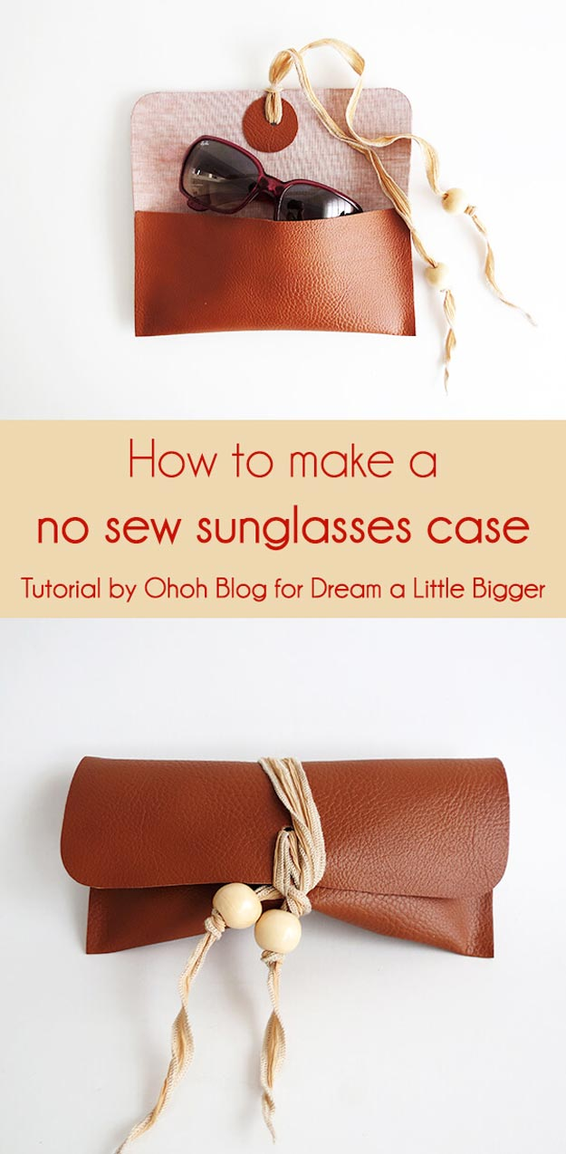 DIY Leather Crafts - How to Make a No Sew Sunglasses Case - Crossbody Bag, Wallet, Earrings and Jewelry Making, Projects from Scrap and Faux Leathers - Tutorials for Beginners and for Kids - Western Wear and Fashion, tips for Tools and Free Patterns - Cheap Clothing for Teens to Make http://teencrafts.com/diy-ideas-leather-crafts