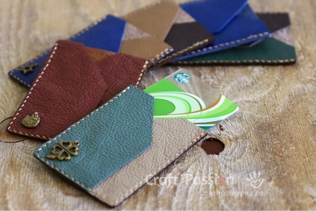DIY Leather Crafts - How to Make a Leather Card Sleeve - Crossbody Bag, Wallet, Earrings and Jewelry Making, Projects from Scrap and Faux Leathers - Tutorials for Beginners and for Kids - Western Wear and Fashion, tips for Tools and Free Patterns - Cheap Clothing for Teens to Make - #teencrafts #leathercrafts #diyideas