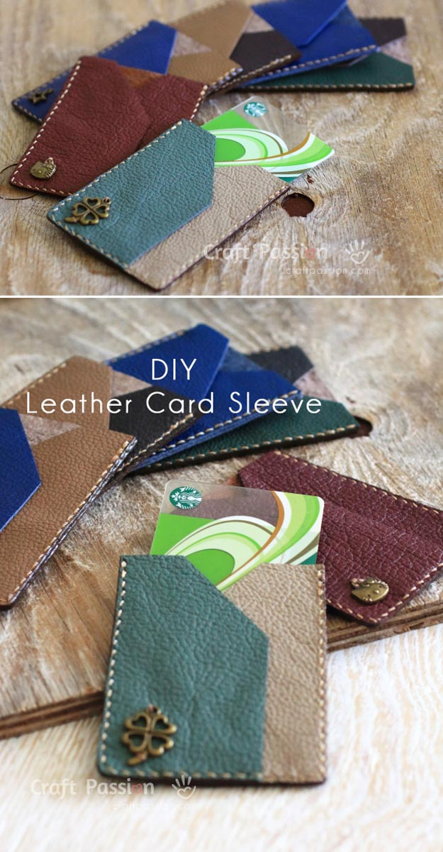 DIY Leather Crafts - Leather Card Sleeve - Crossbody Bag, Wallet, Earrings and Jewelry Making, Projects from Scrap and Faux Leathers - Tutorials for Beginners and for Kids - Western Wear and Fashion, tips for Tools and Free Patterns - Cheap Clothing for Teens to Make http://teencrafts.com/diy-ideas-leather-crafts