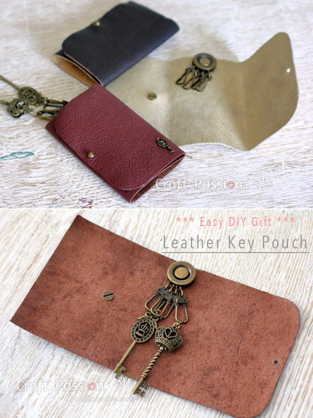 DIY Leather Crafts - Leather Key Pouch - Crossbody Bag, Wallet, Earrings and Jewelry Making, Projects from Scrap and Faux Leathers - Tutorials for Beginners and for Kids - Western Wear and Fashion, tips for Tools and Free Patterns - Cheap Clothing for Teens to Make http://teencrafts.com/diy-ideas-leather-crafts