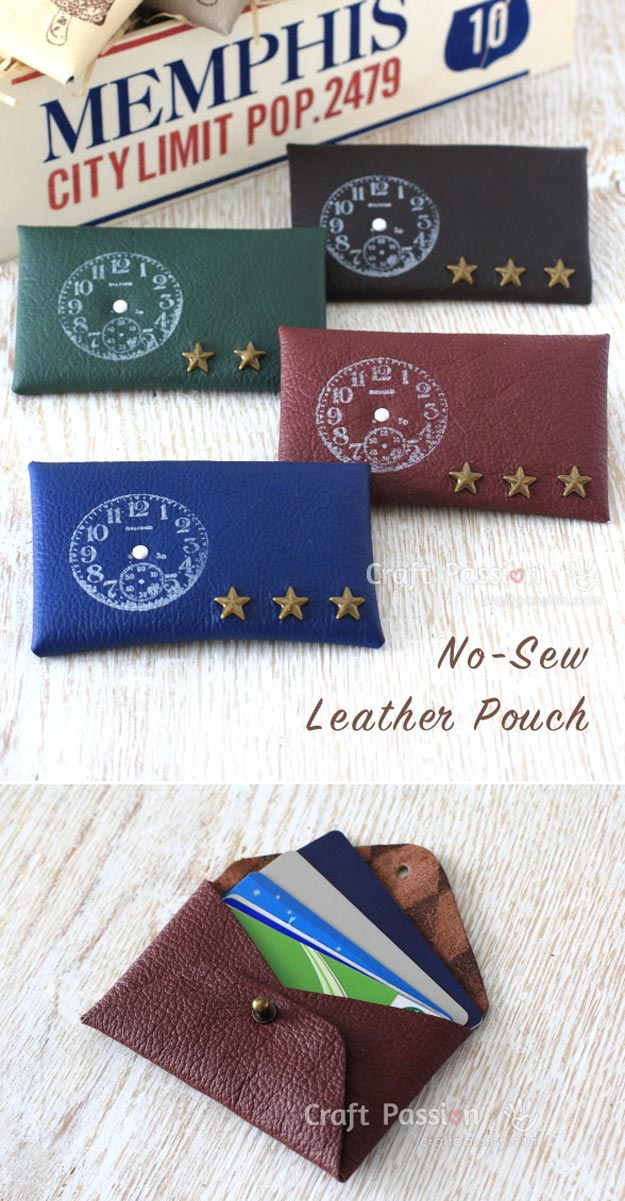 DIY Leather Crafts - Leather Pouch - Crossbody Bag, Wallet, Earrings and Jewelry Making, Projects from Scrap and Faux Leathers - Tutorials for Beginners and for Kids - Western Wear and Fashion, tips for Tools and Free Patterns - Cheap Clothing for Teens to Make http://teencrafts.com/diy-ideas-leather-crafts