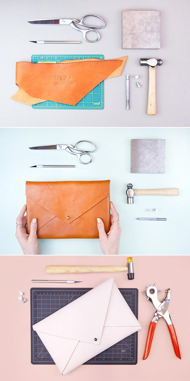 DIY Leather Crafts - Make a Classy Leather Clutch - Crossbody Bag, Wallet, Earrings and Jewelry Making, Projects from Scrap and Faux Leathers - Tutorials for Beginners and for Kids - Western Wear and Fashion, tips for Tools and Free Patterns - Cheap Clothing for Teens to Make http://teencrafts.com/diy-ideas-leather-crafts