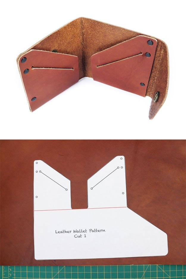 DIY Leather Crafts - Simple Leather Wallet: Layout and Trace - Crossbody Bag, Wallet, Earrings and Jewelry Making, Projects from Scrap and Faux Leathers - Tutorials for Beginners and for Kids - Western Wear and Fashion, tips for Tools and Free Patterns - Cheap Clothing for Teens to Make http://teencrafts.com/diy-ideas-leather-crafts