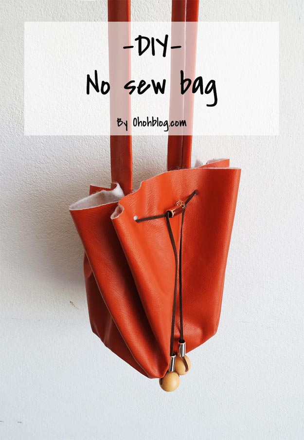 DIY Leather Crafts - The No-Sew Purse Tutorial - Crossbody Bag, Wallet, Earrings and Jewelry Making, Projects from Scrap and Faux Leathers - Tutorials for Beginners and for Kids - Western Wear and Fashion, tips for Tools and Free Patterns - Cheap Clothing for Teens to Make http://teencrafts.com/diy-ideas-leather-crafts