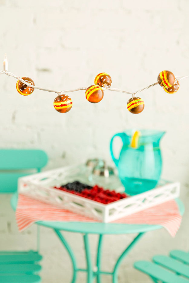 DIY Ideas With String Lights - DIY Hamburger String Lights Tutorial - BBQ Party Decoration Ideas - Fun String Light Ideas - Easy, Fun, Cool Decor To Make With String Lights - Cheap Room Decor Ideas for Teens, Fun Apartment Lighting Projects and Creative Ways to Decorate Your Bedroom - How To Decorate Teens and Teenagers Bedrooms #teencrafts #diyideas #stringlights