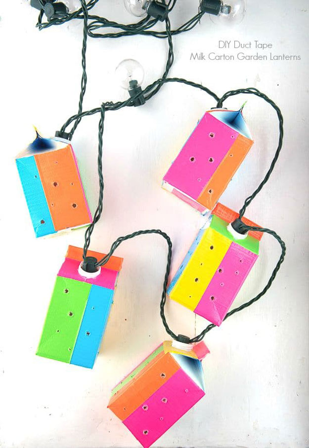 DIY Ideas With String Lights - DIY Milk Carton Garden Lantern Tutorial - Fun String Light Ideas - Easy, Fun, Cool Decor To Make With String Lights - Cheap Room Decor Ideas for Teens, Fun Apartment Lighting Projects and Creative Ways to Decorate Your Bedroom - How To Decorate Teens and Teenagers Bedrooms #teencrafts #diyideas #stringlights