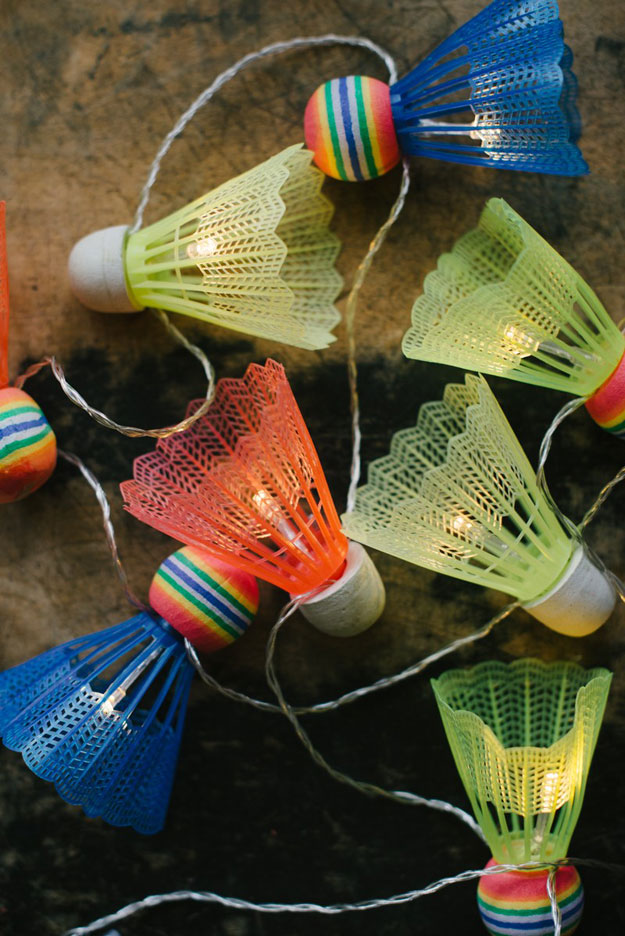 DIY Ideas With String Lights - DIY Shuttlecock String Light Garland Tutorial - DIY String Light Garland Ideas - Fun String Light Ideas - Easy, Fun, Cool Decor To Make With String Lights - Cheap Room Decor Ideas for Teens, Fun Apartment Lighting Projects and Creative Ways to Decorate Your Bedroom - How To Decorate Teens and Teenagers Bedrooms #teencrafts #diyideas #stringlights