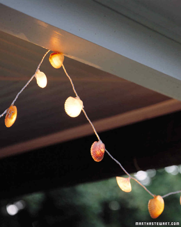 DIY Ideas With String Lights - DIY Seashell String Light Tutorial - Fun String Light Ideas - Easy, Fun, Cool Decor To Make With String Lights - Cheap Room Decor Ideas for Teens, Fun Apartment Lighting Projects and Creative Ways to Decorate Your Bedroom - How To Decorate Teens and Teenagers Bedrooms #teencrafts #diyideas #stringlights