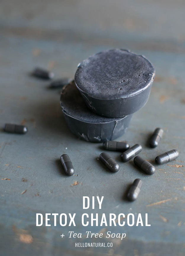 Lush Copycat Recipes - DIY Detox Charcoal and Tea Tree Soap - DIY Lush Inspired Copycats and Dupes - How to Make Do It Yourself Lush Products like Homemade Bath Bombs, Face Masks, Lip Scrub, Bubble Bars, Dry Shampoo and Hair Conditioner, Shower Jelly, Lotion, Soap, Toner and Moisturizer. Tutorials Inspired by Ocean Salt, Buffy, Dark Angels, Rub Rub Rub, Big, Dream Cream and More - Teens and Teenager Crafts #teencrafts #lush #diyideas