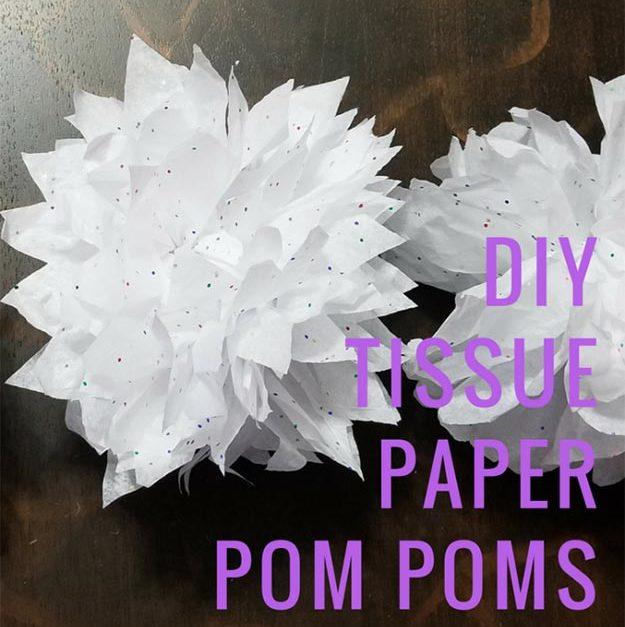 Pom Pom Crafts - DIY Tissue Paper Pom Poms - Easy DIY Decor and Craft Ideas Made With Pom Poms - Homemade Room Decor for Teens and Adults - How to Make A Pom Pom Tutorial - Tissue Paper and Yarn Crafts to Make and Sell On Etsy #teencrafts #pompomcrafts #diyideas