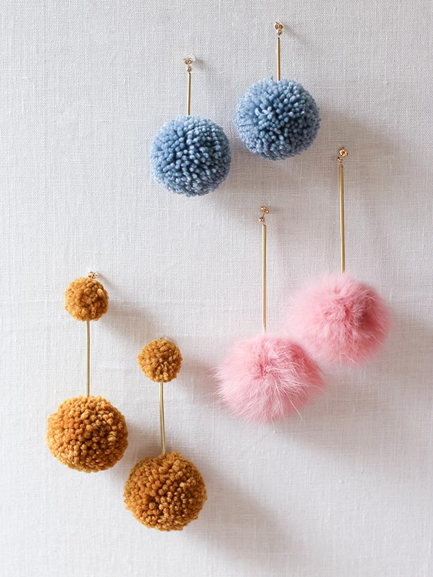 Pom Pom Crafts - DIY Pom Pom Earrings - Easy DIY Decor and Craft Ideas Made With Pom Poms - Homemade Room Decor for Teens and Adults - How to Make A Pom Pom Tutorial - Tissue Paper and Yarn Crafts to Make and Sell On Etsy #teencrafts #pompomcrafts #diyideas