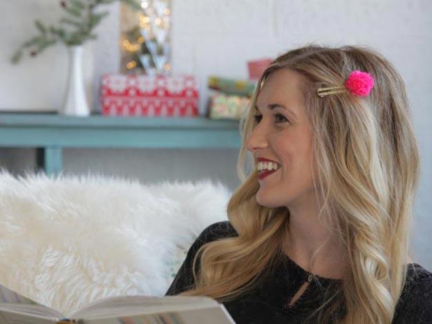 Pom Pom Crafts - DIY Glitter Pom Pom Hair Clips Tutorial - Easy DIY Decor and Craft Ideas Made With Pom Poms - Homemade Room Decor for Teens and Adults - How to Make A Pom Pom Tutorial - Tissue Paper and Yarn Crafts to Make and Sell On Etsy #teencrafts #pompomcrafts #diyideas